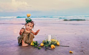 Picture shore, roses, girl