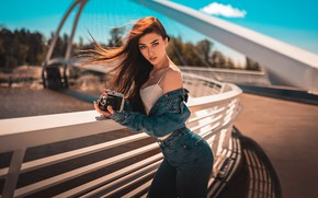 Picture look, the sun, sexy, pose, model, portrait, jeans, makeup, Mike, figure, hairstyle, the camera, brown …