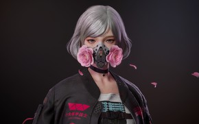 Picture girl, roses, mask, killer, pink roses