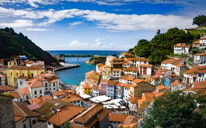 Picture sea, the sky, the sun, clouds, trees, shore, home, Bay, boats, roof, horizon, Asturias, Cudillero