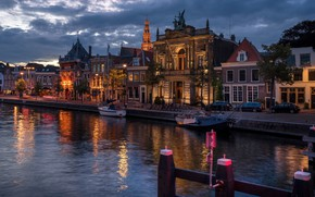 Picture the city, river, building, home, boats, the evening, lighting, Netherlands, architecture, Holland, The guy near, …