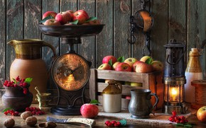 Picture style, berries, apples, lamp, mug, pitcher, still life, box, Libra, hawthorn
