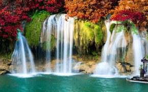 Picture autumn, forest, leaves, landscape, river, rocks, waterfall, forest, river, landscape, beautiful, autumn, leaves, waterfall