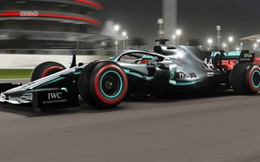 Picture machine, speed, track, in motion, floodlights, racing car, F1 2019, Mercedes AMG F1 W10 EQ …