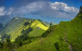 Picture greens, forest, summer, the sky, clouds, light, mountains, river, blue, hills, blue, vegetation, the slopes, ...