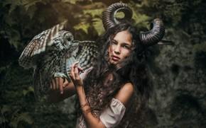 Picture forest, look, girl, style, owl, bird, fantasy, horns, nymph, Marketa Novak