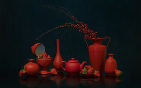 Picture red, berries, strawberry, dishes, still life