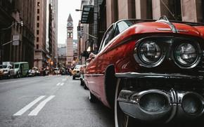 Picture road, machine, machine, retro, street, lights, building, car, wheel