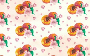 Picture white, flowers, background, texture, peaches, pink, flowers, pattern, peaches