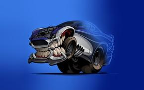 Picture Auto, Minimalism, Machine, Teeth, Background, Car, Art, Illustration, Transport, Grin, Vehicles, Creatures, Transport, Transport & ...
