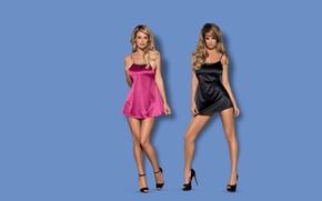 Picture sexy, lingerie, women, blonde, heels, satin