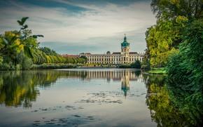 Picture autumn, trees, pond, castle, Castle garden