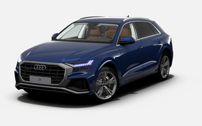 Picture Audi, аудиQ8, audi Q8, синяя ауди Q8, ауди Q8 s-line, audi Q8 s-Line