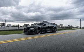Picture Audi, Black, Quattro, Road, VAG, RS7, 4.0TT