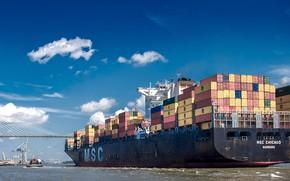 Picture bridge, river, the ship, cargo, a container ship, container