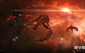 Picture nebula, planet, station, Space, space, ruins, battle, spaceship, eve online, battle, space ship, coooper