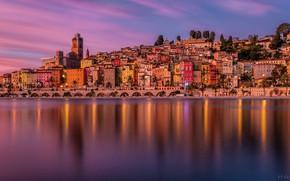 Picture sea, sunset, bridge, France, building, home, France, French Riviera, The French Riviera, The Mediterranean sea, …