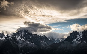 Picture the sky, clouds, snow, mountains, nature, rocks