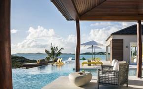 Picture furniture, Villa, interior, pool, terrace, Seven Stars Villas, Turtle Tail, Turks and Caicos Islands