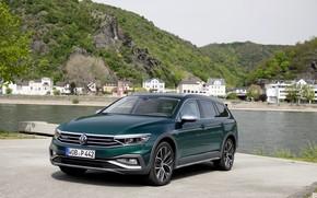 Picture river, Volkswagen, universal, Passat, dark green, Alltrack, 2019