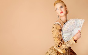 Picture decoration, pose, style, retro, background, portrait, makeup, dress, fan, hairstyle, blonde, outfit, beauty