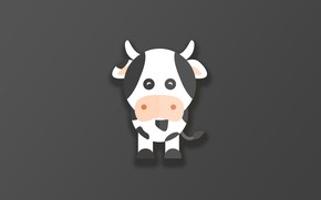Picture horns, minimalism, animal, funny, digital art, artwork, cute, simple background, Cow