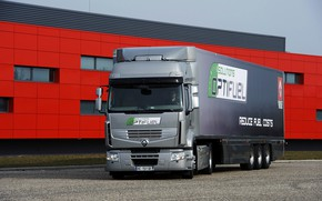 Picture grey, the building, truck, Parking, Renault, tractor, 4x2, the trailer, Premium Route, Renault Trucks