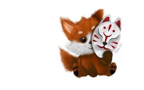 Picture minimalism, anime, mask, art, Fox, children's, Kitsune Mask, Alejandra Morfin