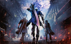Picture The city, Street, Sword, Gloves, Building, Tattoo, Demons, Dante, Nero, Devil may cry 5, Rebellion, ...