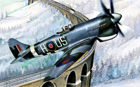Picture British, Tempest, Royal Air Force, WWII, Hawker Tempest Mk.V, Fighter aircraft