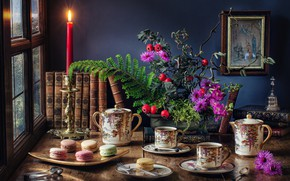 Picture flowers, table, books, candle, picture, window, the tea party, Cup, dishes, still life, cakes
