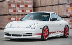 Picture White, Sportcar, German Car, Porsche 996 GT3 RS, Safety frame, Red Wheels