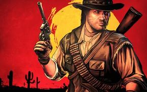 Picture hat, cowboy, art, Rockstar, red dead redemption, john marston