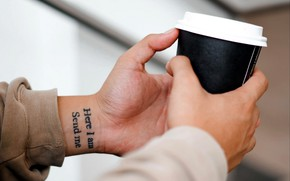 Picture hands, tattoo, Cup, the phrase