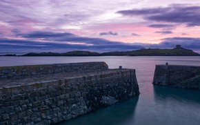 Picture sea, the sky, clouds, dawn, harbour, Ireland, Dublin, Coliemore Harbour