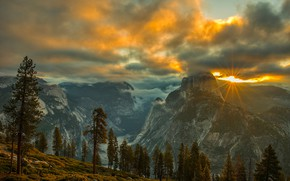 Picture autumn, forest, the sky, the sun, clouds, rays, light, trees, landscape, sunset, mountains, fog, rocks, ...