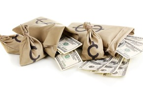 Picture money, white background, dollars, bags, currency, bills, banknotes