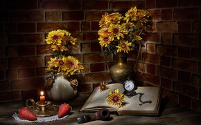 Picture flowers, berries, the dark background, candle, bouquet, yellow, strawberry, book, bricks, still life, items, chrysanthemum, …