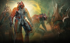 Picture light, background, collage, the game, warrior, creatures, armor, Warframe