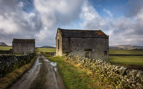 Picture road, the fence, England, buildings, Derbyshire, Destination