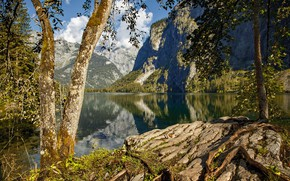 Picture forest, the sky, the sun, clouds, trees, mountains, lake, stones, rocks, Germany, Obersee