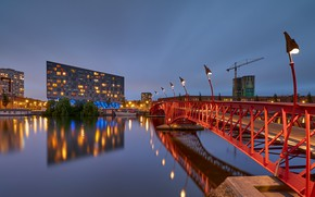 Picture bridge, lights, the evening, Netherlands, Amsterdam, Holland