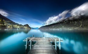 Picture the sky, landscape, mountains, pond