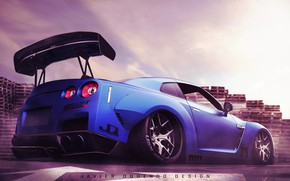 Picture Auto, Blue, Machine, Nissan, Nissan GTR, Transport & Vehicles, Javier Oquendo, by Javier Oquendo