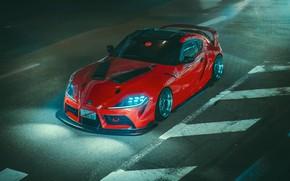 Picture Red, Auto, Night, Machine, Light, Supra, Toyota Supra, Concept Art, Science Fiction, Khyzyl Saleem, by …