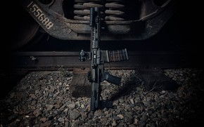 Picture metal, weapons, background, rails, assault rifle