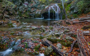Picture autumn, leaves, roots, river, stones, waterfall, Russia, Crimea, The Gorge Haphal, Waterfall Jur-Jur, The River …
