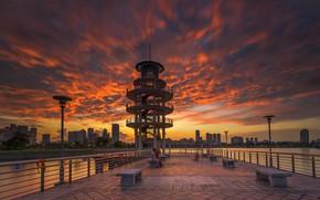 Picture clouds, Park, Singapore, glow