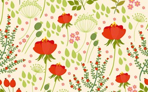 Picture flowers, background, texture, red, red, buds, poppies