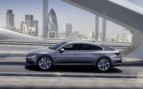Picture bridge, Volkswagen, profile, 2018, Elegance, liftback, 2017, Arteon, gray-silver